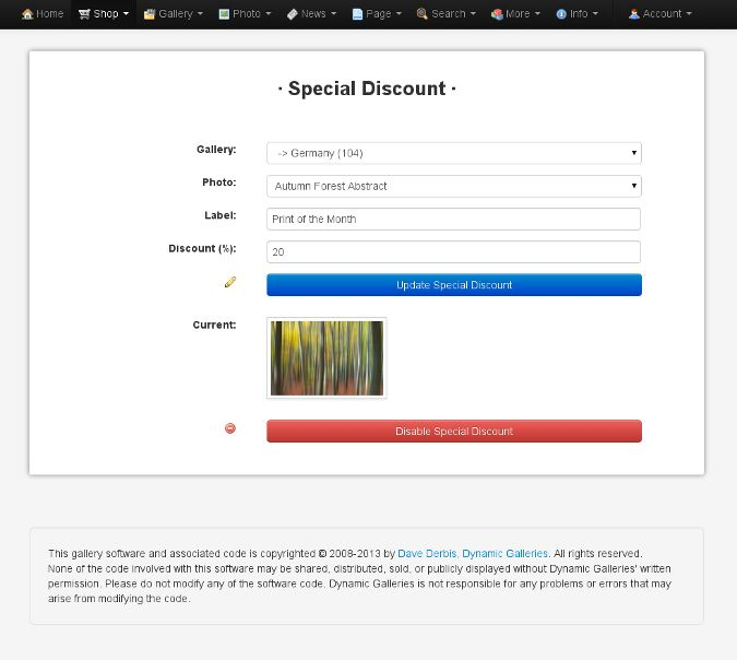 Special Discount Form